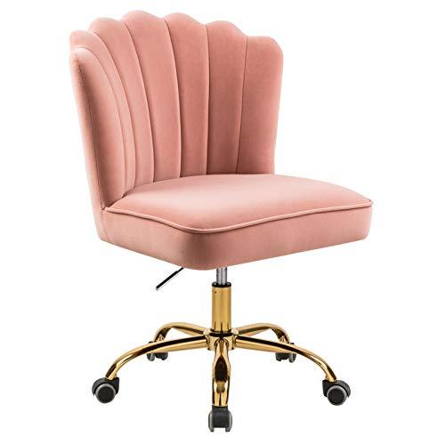Silla de escritorio giratoria ergonómica, altura regulable 360°, color rosa