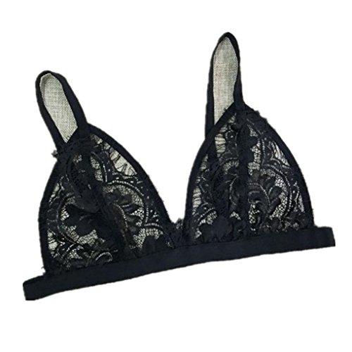 Price comparison product image haoricu Women Bra,  2017 Women Hollow Translucent Underwear Black Lace Strap Lingerie Bra Tops Bustier (L,  Black)