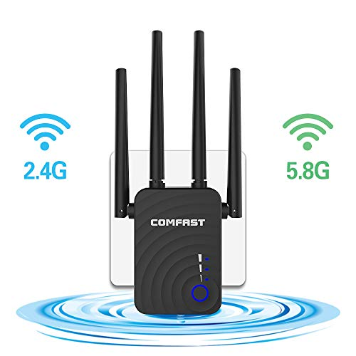 WiFi Range Extender, 1200Mbps Dual Band 2.4GHz/5.8GHz WiFi Repeater, WiFi Signal Booster with 4 Antennas, Wireless Network Extender Supports Repeater/Access Point/Router Mode