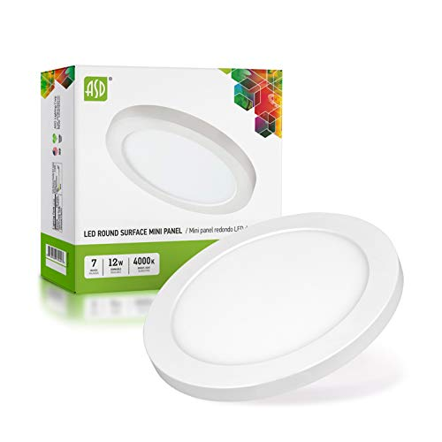 ASD 7 Inch Dimmable LED Flush Mount Ceiling Light Fixture, Round Flat Panel Light, Junction Box Or Recessed Can Installation 12W=30W Equivalent, 750 Lm, 4000K Bright White, Energy Star & ETL Certified