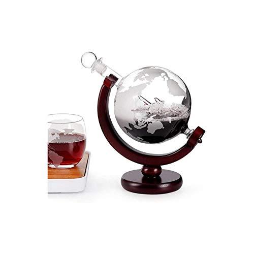 Decantador de vino de cristal hecho a mano, Carafe Whisky o Champagne Bottle, Mapa del mundo Decantador, Globo de cristal grande con dos copas de vino, para sala de estar Bar Restaurante Regalo de dec