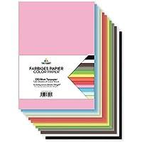 Tritart – Papel de colores A4 130 g/m2, 120 hojas de papel de manualidades resistente totalmente teñido, estable y creativo para manualidades, 12 colores diferentes, para manualidades