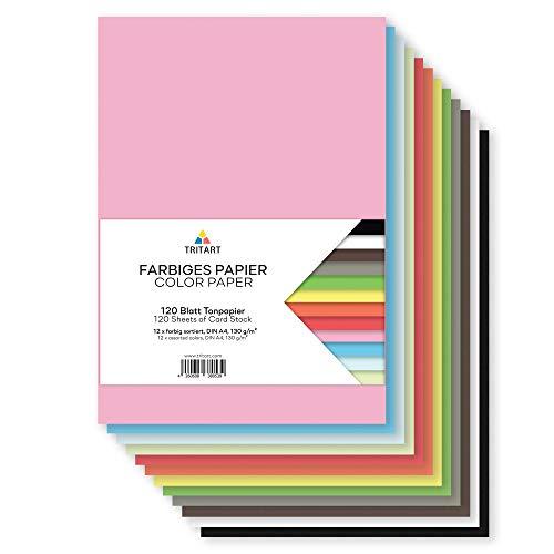 Tritart - Buntpapier A4 130g /m² I 120 Blatt festes Bastelpapier voll durchgefärbt I stabiler kreativ Tonkarton zum Basteln I Fotokarton 12 verschiedene Farben I DIY buntes Tonpapier Bastelkarton