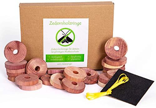 Jalawango Natürlicher Mottenschutz 24x Bio Zedernholzringe – chemiefreie Mottenabwehr für den Kleiderschrank – Mottenringe aus Zedernholz I gegen Kleidermotten
