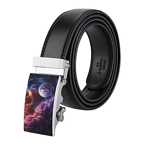 Cinturón de piel ajustable para hombre, con hebilla de deslizamiento automática, ajuste de cintura de hasta 45.5 pulgadas, para trajes/jeans/Uniforme, pulsera Galaxy