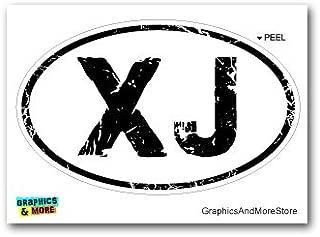 Graphics and More XJ Distressed Euro Oval - Cherokee - Window Bumper Locker Sticker