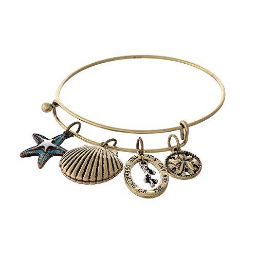 Tata Gisèle Armband, Modeschmuck, Armreif, aus vergoldetem Metall, Altgold – Armreif, mit Marine-Charms