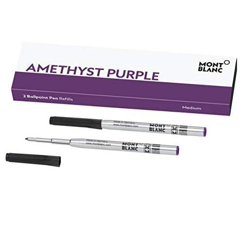Montblanc 124633 - Refill (M) per penne a sfera, colore Amethyst Purple (viola ametista) – Ricariche di alta qualità e colore intenso, punta: media, 1 x 2 Refill