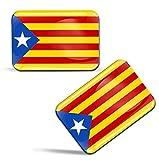 Biomar Labs® 2 x 3D Gel Pegatinas Siliconas Comunidad de España Cataluña Bandera Independentista Catalana Estelada Blava Español Stickers Spain Catalunya Flag Adhesivos Auto Coche Moto Ordenador F 91