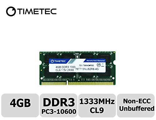 Timetec Hynix IC 4GB DDR3 1333MHz PC3-10600 Unbuffered Non-ECC 1.5V CL9 2Rx8 Dual Rank 204 Pin SODIMM Laptop / Notizbuch Arbeitsspeicher Module Upgrade (4GB)