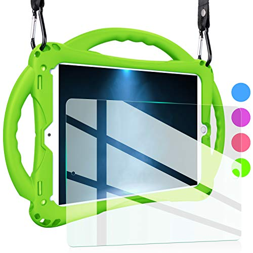 TopEsct iPad Air 2 Case for Kids,Shockproof Silicone Handle Stand Case Cover&(Tempered Glass Screen Protector) for iPad Air 1/2, iPad 9.7(2017/2018 Version) and iPad Pro 9.7 (Green) (Green)