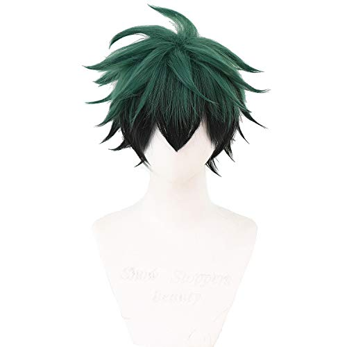CSGZJYH Anime Cosplay Wig for My Hero Academia Shinsou Hitoshi Synthetic Wig with Free Wig Cap (black green)