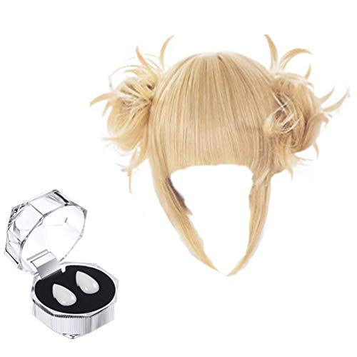 GZIRUE Himiko Toga Cosplay Blonde Perücke Haar Party Cosplay Kostüm Kawaii Wig mit Vampir Zähne Requisiten Fangs