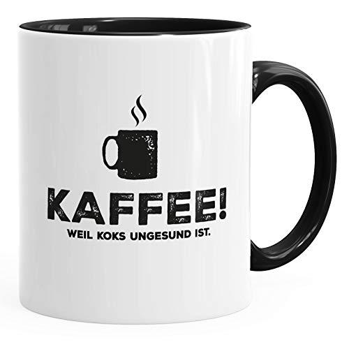 MoonWorks® Kaffee-Tasse mit Spruch Kaffee! weil Koks ungesund ist Bürotasse lustig Kaffeebecher schwarz Keramik-Tasse
