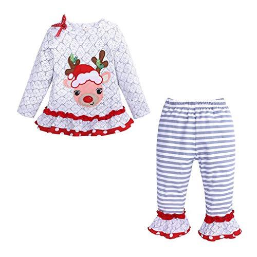 Gagacity Baby Meisjes Mijn Eerste Kerst Jurk Kostuum Kerstmis Tops + Broek, 2 PC Set S/80-85CM Moose(white)