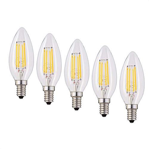 Hellum 207118 - Bombilla LED C35 (filamento LED, casquillo E14, luz blanca cálida, 2700 K, 4 W, 5 unidades)