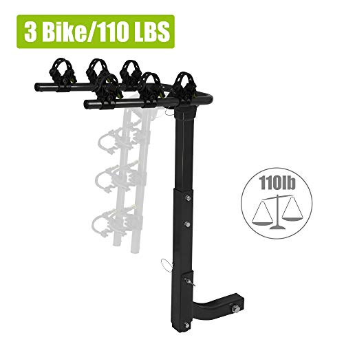 """CARSTY 3 Bike Rack Bicycle Carrier Racks, for Car 2"""" Hitch Mounted, Trunk Mount for Cars, Trucks, SUV's and Minivans Rubber Lock & Sleek Pad"""