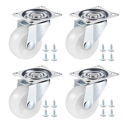 4 ruedas giratorias (1.5 pulgadas), ruedas resistentes para carrito de la compra con doble rodamiento de bolas, ruedas de repuesto para muebles con tornillos, para aplicaciones industriales