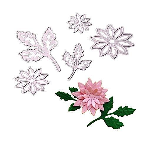 Cutting Dies 5pcs Flowers Leaves Handmade DIY Stencils Template Embossing for Card Scrapbooking Craft (Flower016)