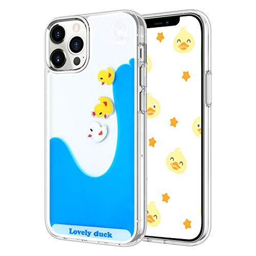 LUVI Kompatibel mit iPhone 12 Pro Max Hülle, flüssiger Treibsand lustig niedlich Cartoon Lovely Duck fließend schwimmender Wasserfall Schutzhülle Weiche Silikon Gummi Hülle 6,7 Zoll
