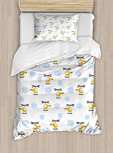 ABAKUHAUS Kinderkamer Dekbedovertrekset, Vliegtuigen in Wolken, Decoratieve 2-delige Bedset met 1 siersloop, 130 cm x 200 cm, Yellow and Blue