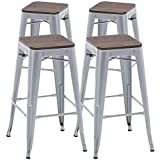 TONGLI Metal Counter Height Bar Stools Kitchen Counter Stools Set of 4 Metal Ding Stools 30 Inches Counter Barstool Metal Backless, Silver