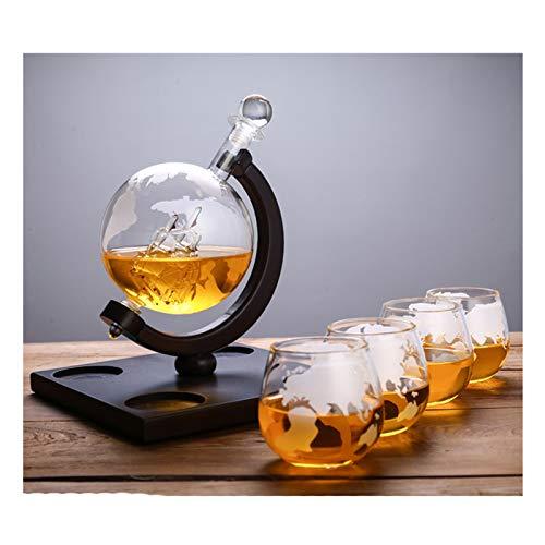 Juego de Vasos de Whisky con 4 Globos Grabados, Vasos de Whisky, Jarra, tapón de Vidrio para Barcos Antiguos, Embudo para Verter, Vidrio soplado a Mano, sin Plomo, Soporte de Madera