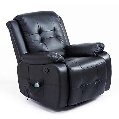 HOMCOM Massagesessel mit Wärmefunktion Fernsehsessel Relaxsessel TV Sessel mit Liegefunktion (Kunstleder Schwarz)