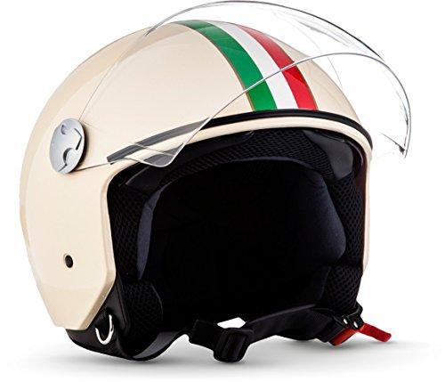 """yellow /· Casco Demi Jet /· Scooter Piloto Helmet Urbano Motocicletta Moto /· ECE certificato /· Visor /· Click-n-Secure/™ Clip /· Borsa per il trasporto /&mi Armor /· AV-84 /""""Vintage Deluxe Creme/"""""""
