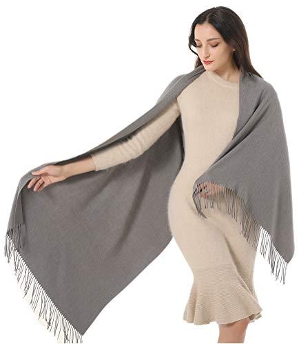 Sciarpa in cashmere misto acrilico super morbido solido pashmina Wrap scialle donna regalo - Grigio - Large