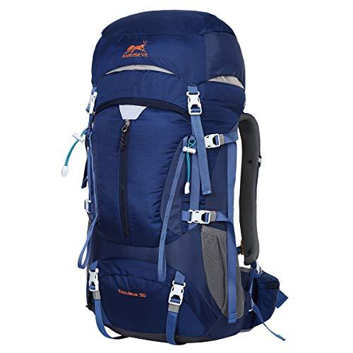 Eshow Zaino Unisex 55 Litri Impermeabile Leggero Copertina Antipioggia Trekking Outdoor Sport Alpinismo Escursionismo Campeggio Viaggio Blu Chiaro