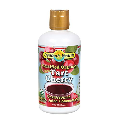Dynamic Health Certified Organic Tart Cherry Juice 32oz, unsweetened 100% Juice Concentrate, Vegan, Gluten-Free, Bpa-Free