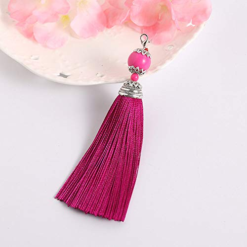 ZYHYCH 10pcs/20pcs/30pcs/lot Chinese Knot Silk Tassels Multicolor Handmade Polyster Tassel Pendant for Keychain DIY Making Accessories,Rose,20pcs