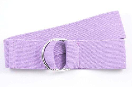 NYFASHION101 Unisex Canvas Stretch Elastic Belt w/Silver Metal Round Buckle, Lavender