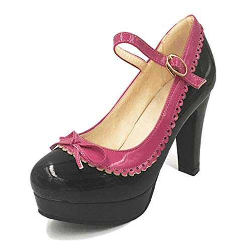 XHCHE Frauen Knöchelriemen Schuhe High Heel Bowtie Runde Toe Heels Pumps Plattform Party Damen Footwears