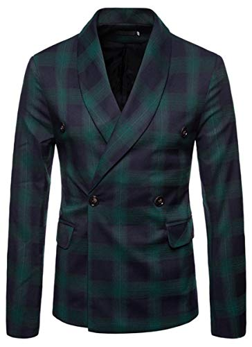 Men's Slim Fit Suits Double Breasted Two Button Casual Plaid Blazer Jacket Coat Outerwear, Green, US Large/42 = Tag 2XL