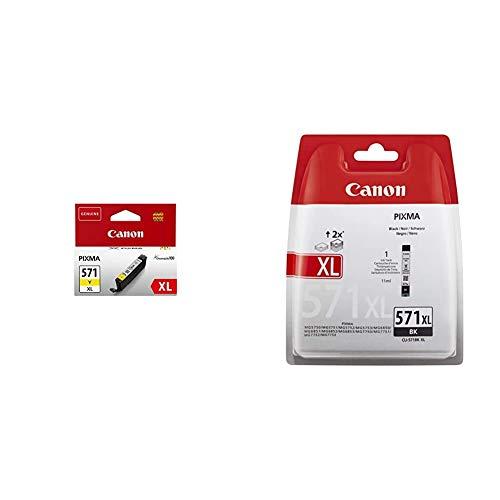 Canon Cartucho de tinta CLI-571XL Y - Amarillo + CLI-571XL Cartucho de tinta BK XL para Impresora de Inyeccion Pixma