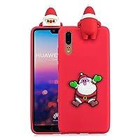 ケース Huawei P20、薄型 かわいい 3D 漫画 クリスマス 新しい パンダ ケース、シリコン ソフトフレーム tpu カバー、ユニーク 人気 耐衝撃 弾性 軽量 薄型 衝撃吸収 全面保護カバー, 面白いユニークなラッキーギフト、子供、女の子、婦人のための,by Beautycatcher - 赤+サンタクロース