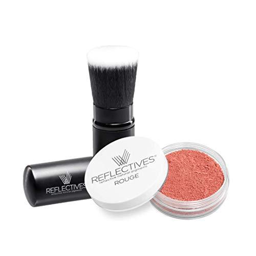 Ensemble de pinceaux à maquillage en poudre de couleur rouge avec des poches et des pinceaux pour mettre des accents spéciaux en 4 couleurs différentes.