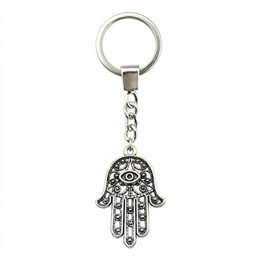 N/ A zilver kleur 42 x 28 mm hand met oog sleutelhanger handgemaakte metalen sleutelring party cadeau