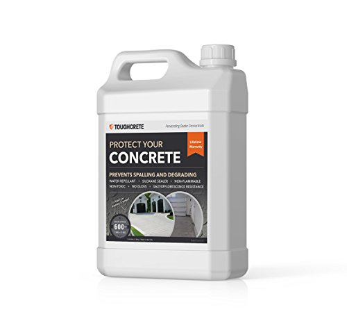 ToughCrete Concrete Sealer - 1 Gallon (Covers 600SqFt) - Concrete Sealant for Driveways, Garage Floors, Sidewalks, Patios, Paver and Other Concrete Surfaces