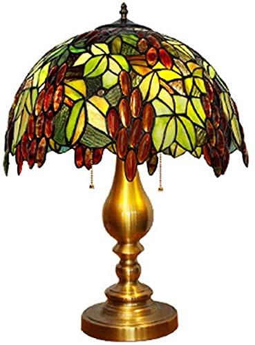 CWZY Mesita de noche lámpara de escritorio moderna sala de estar lámpara de escritorio oro hecho a mano uva patrón arte rural vidrieras clásica base de metal mesita de noche