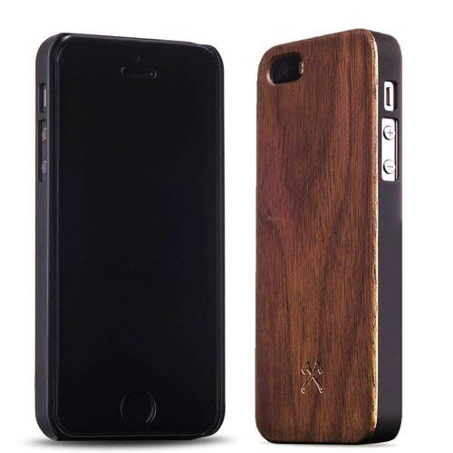 Woodcessories - Case Compatible with iPhone 5/ 5s / SE (2016) of Real Wood, EcoCase Classic (Walnut/Black)