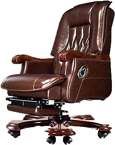 Silla de oficina de oficina Silla de trabajo giratoria Silla de madera sólida Silla ejecutiva de madera maciza, silla de cuero de la cabina del marco principal de roble, silla de elevación ejecutiva c