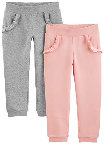 Simple Joys by Carter's Girls' Toddler 2-Pack Pull on Fleece Pants, Gray/Pink, 3T