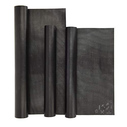 Navaris Set de 3 Alfombrillas para Grill - Kit de 3 láminas antiadherentes para Horno en Negro - Láminas Resistentes al Calor para Parrilla Barbacoa