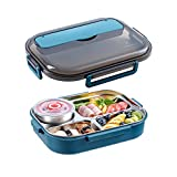 Nachar Stainless Steel Bento Box for Adults & Kids,5 Compartments Divided Lunch Box, Insulated Food Storage Container with Soup Bowl Chopsticks Spoon, Lunch Container for Home Office Outdoor