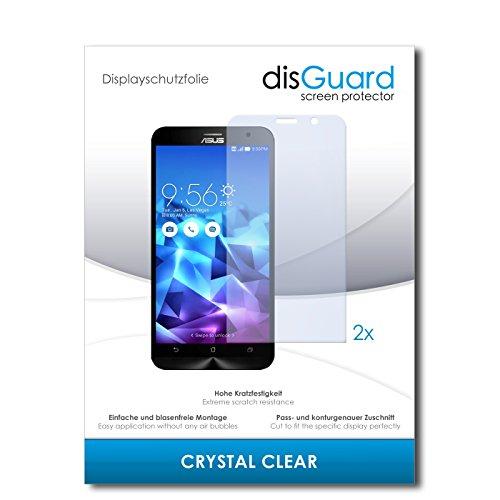 disGuard® Bildschirmschutzfolie [Crystal Clear] kompatibel mit Asus ZenFone 2 Deluxe [2 Stück] Kristallklar, Transparent, Unsichtbar, Extrem Kratzfest, Anti-Fingerabdruck - Panzerglas Folie, Schutzfolie