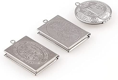 KASMOM New Photo Frame Square Circular Necklaces Stainless Steel Miracle St. Benedict Medal Charms Locket for Keychain Or Necklace Fash - as Photo PDMV-19661