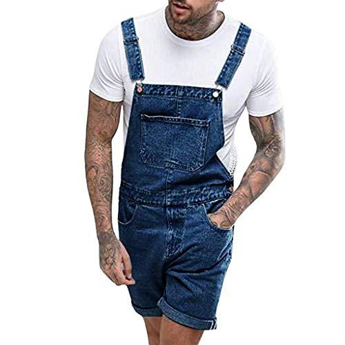 Ansenesna Latzhose Herren Jeans Kurz Jumpsuit Männer Sommer Denim Overall Hose (Dunkelblau,XL)
